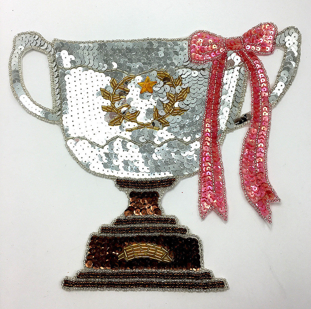 "Champion Silver Cup Trophy Sequin Beaded  9.5"" x 8"""