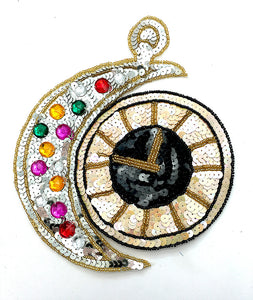 "Clock with Multi-Colored Sequins, Beads and Acrylic Stones 8"" x 7"""