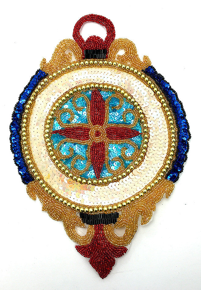 "Clock with Multi-Colored Sequins and Beads 11"" x 7.5"""