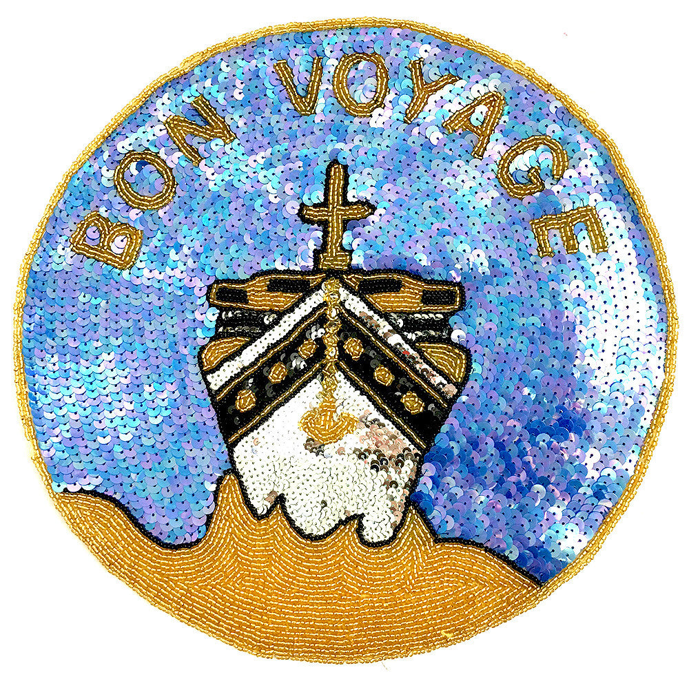Bon Voyage with Ship Sequin Beaded  11""