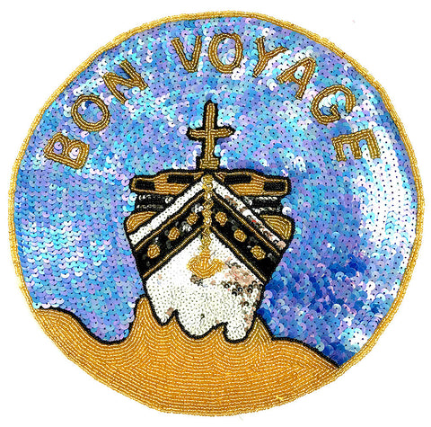 Bon Voyage with Ship Sequin Beaded Blue/Gold and  11""
