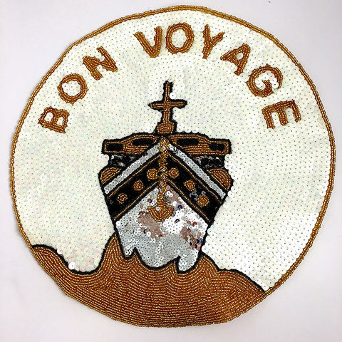 Bon Voyage Ship with Gold White and Black Sequins and Beads 11""