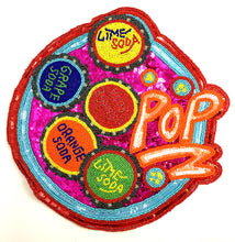 Load image into Gallery viewer, Soda Applique Says Pop with Different Flavors, Multi-Color Beads and Fuchsia Sequins 12""