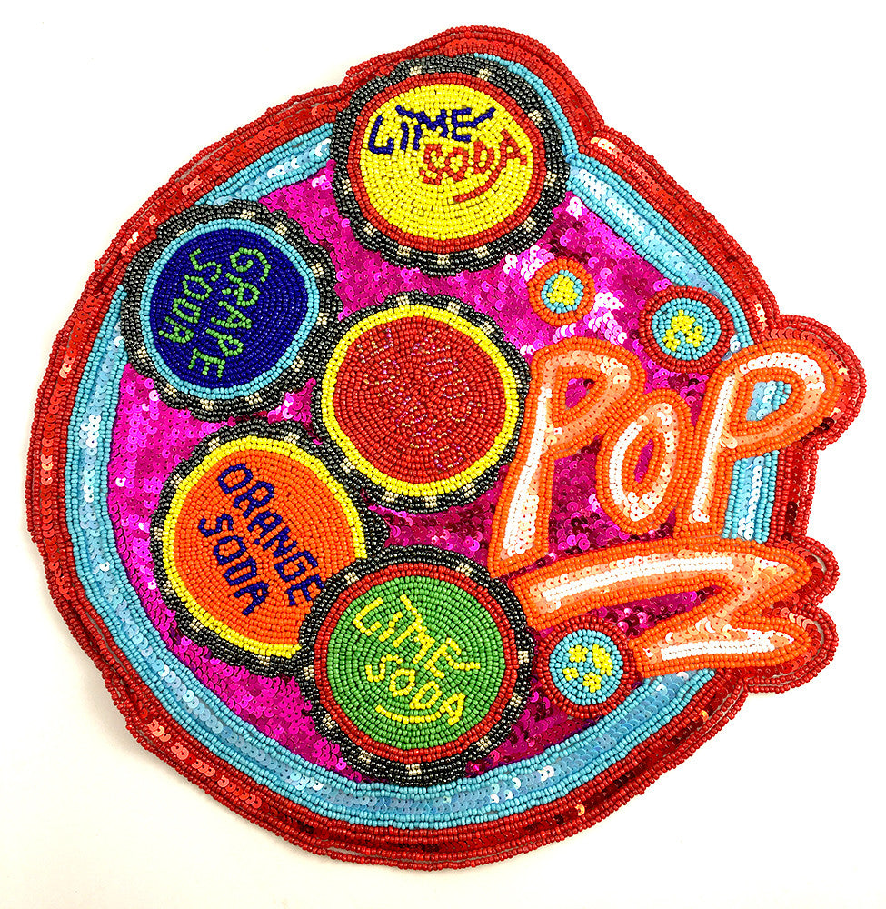 Soda Applique Says Pop with Different Flavors, Multi-Color Beads and Fuchsia Sequins 12