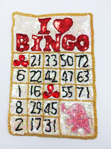"Bingo Card with Beige and Red Black Sequins and Beads Pink Elephant Hidden 8"" x 6"""