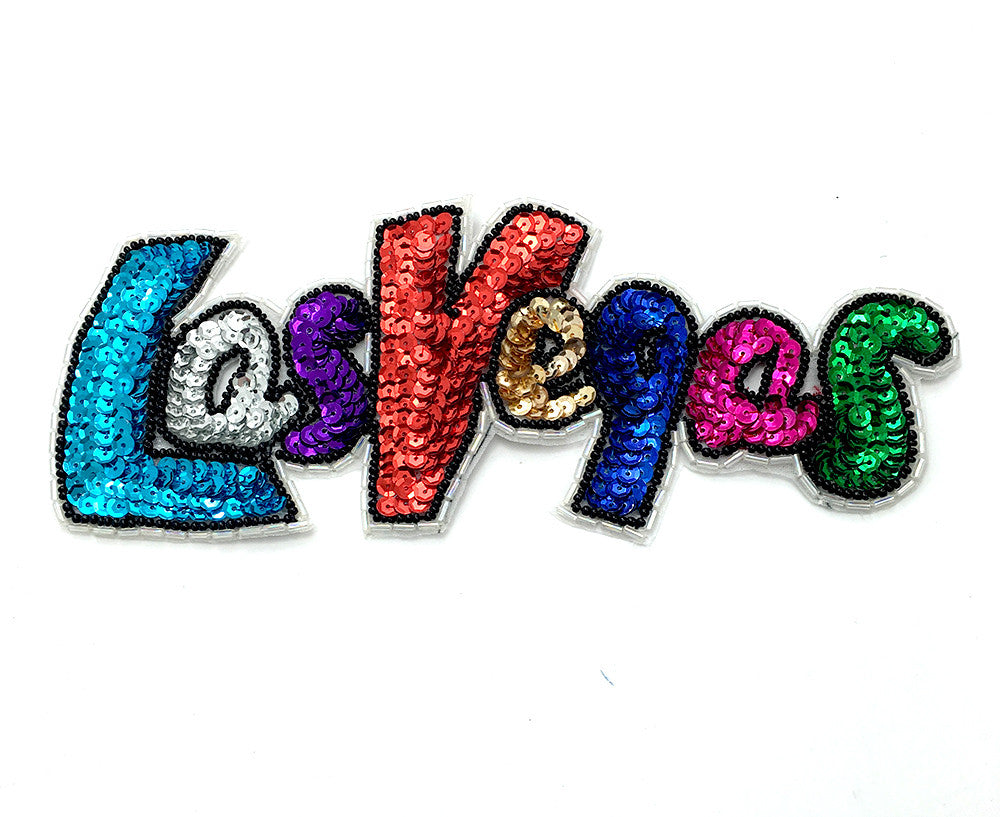 "Las Vegas Word with Mulit-Colored Sequins and Beads  8"" x 3"""