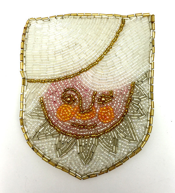 "Crest with Sun and Clouds,  All Beaded Patch 4.75"" x 4.75"""