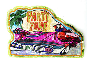 "Party Zone Word over Car Multi-Colored Sequins and Beads 8"" x 11"""
