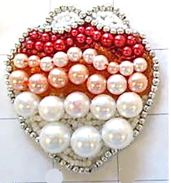 "Seashell with White Pink Coral Red Silver Beads 2.5"" x 2.5"""
