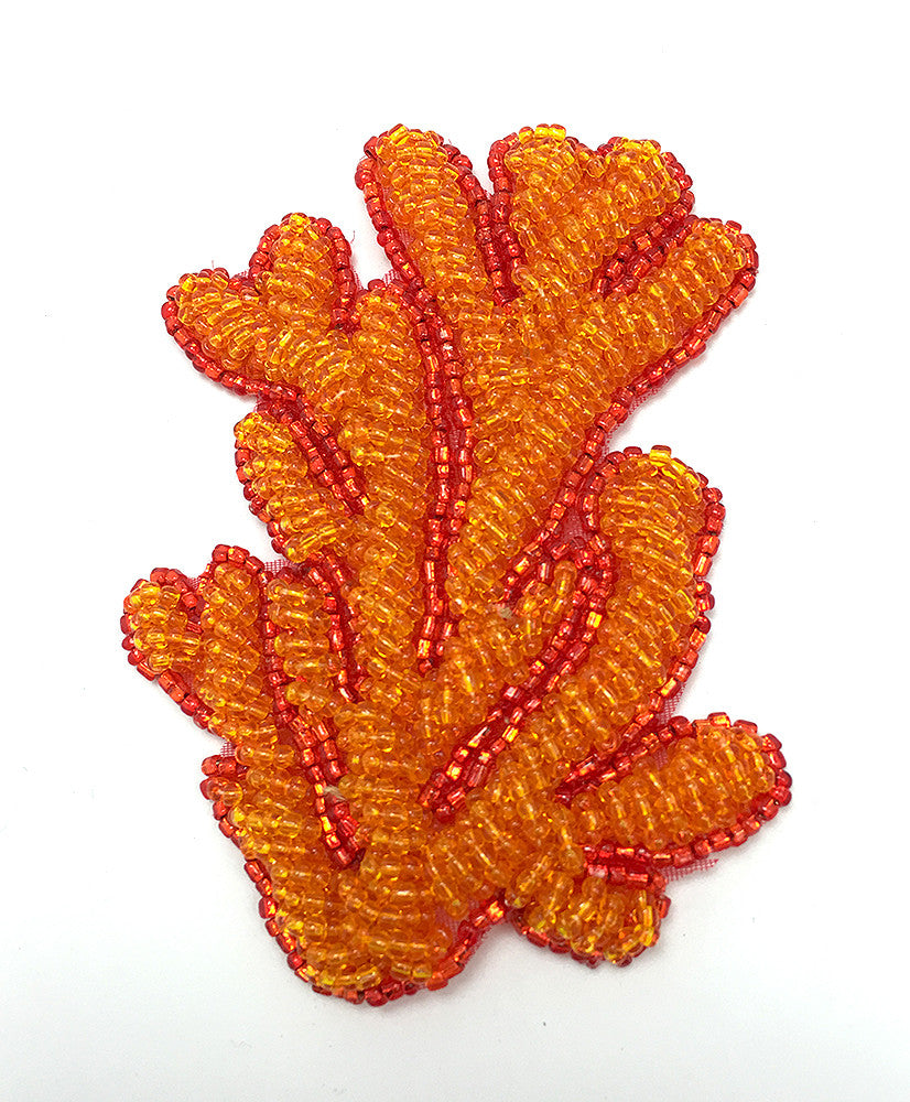 "Coral Seaweed with Orange Beads 3.5"" x 2"""