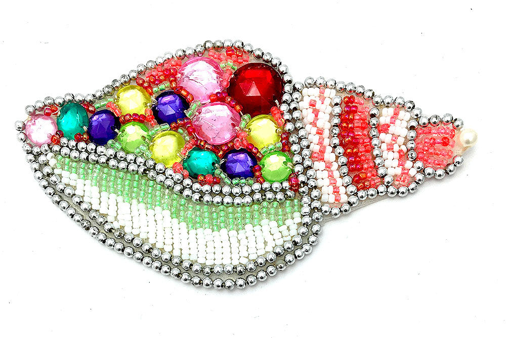 "Seashell with Multi-Colored Beads and Acrylic Stones 4.5"" x 3"""