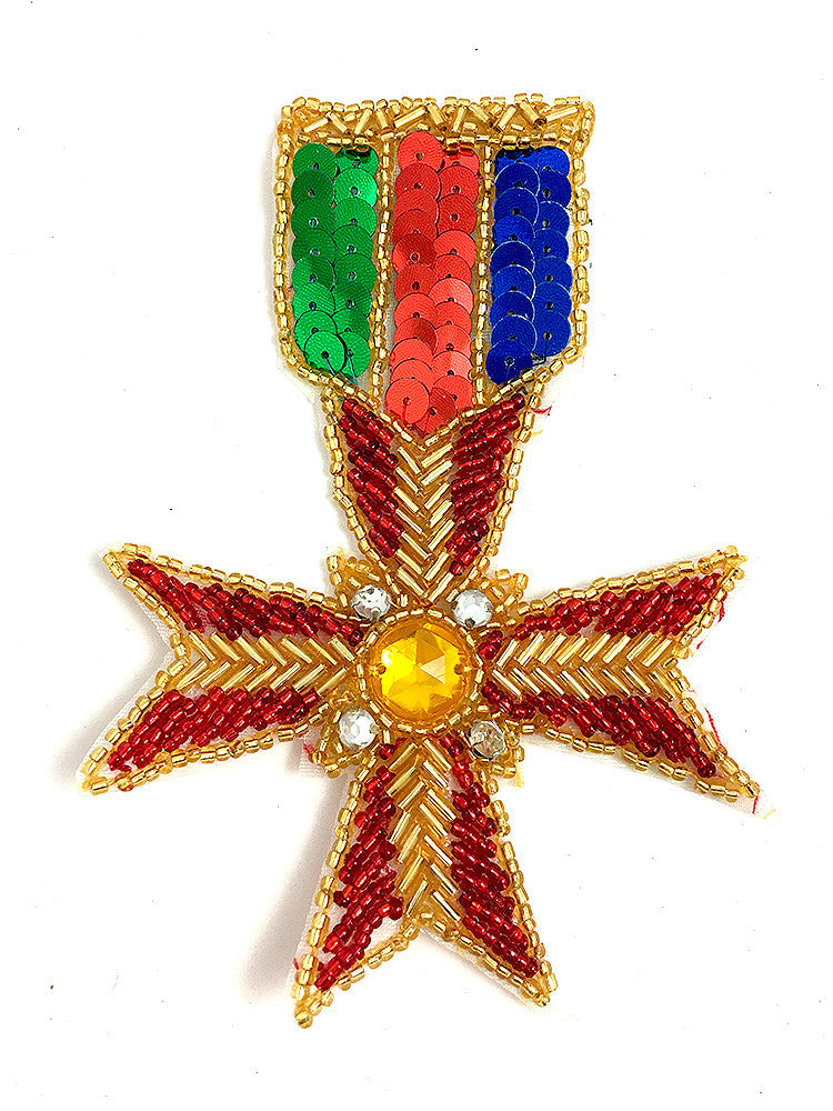 "10 PACK Badge Cross Medal with Sequins, Beads and Rhinestones 5"" x 3.5"" - Sequinappliques.com"
