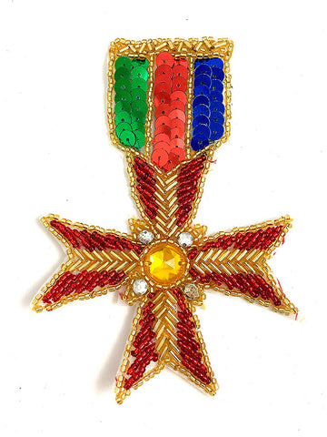 "Badge Cross Medal with Sequins, Beads and Rhinestones 5"" x 3.5"""