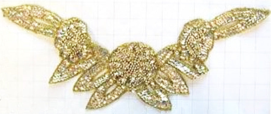 "Flower Neckline Gold Sequins and Beads. 16"" x 8"""