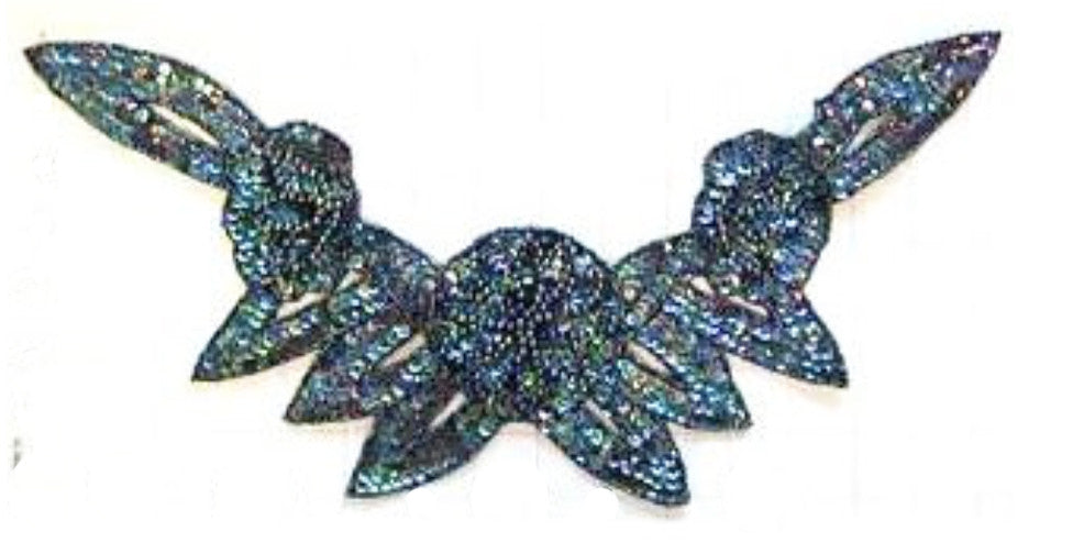 "Flower Neck Line with Moonlite Sequins and Beads 16"" x 8"""