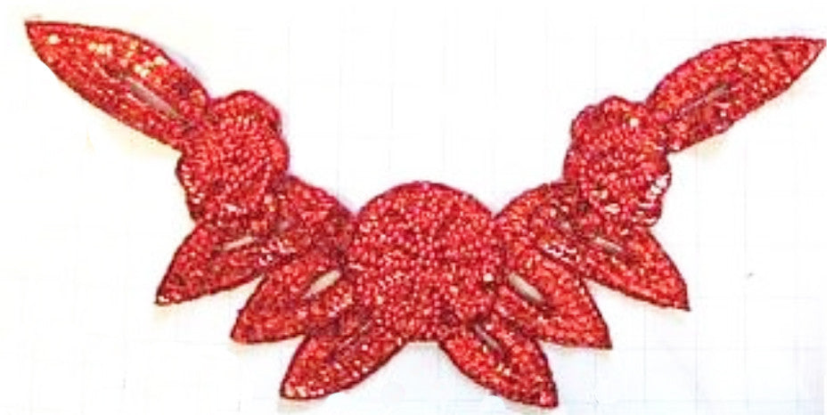 "Flower Neckline with Red Sequins and Beaded Flower in Middle 16"" x 8"""