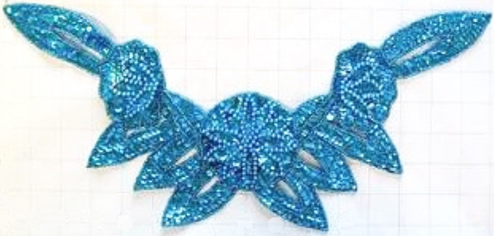 "Flower Neckline  with Turquoise Sequins and Beads 16"" x 8"""