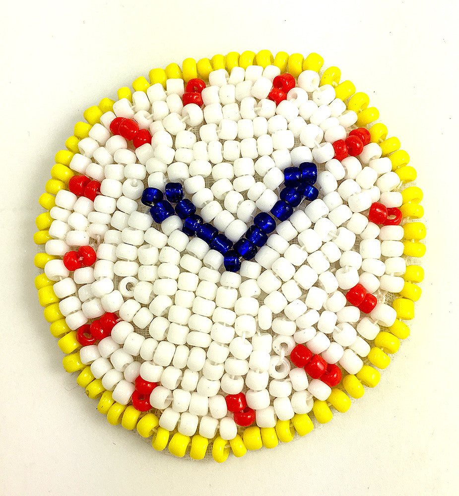 Clock with White Yellow Blue and Red Beads  1.75""
