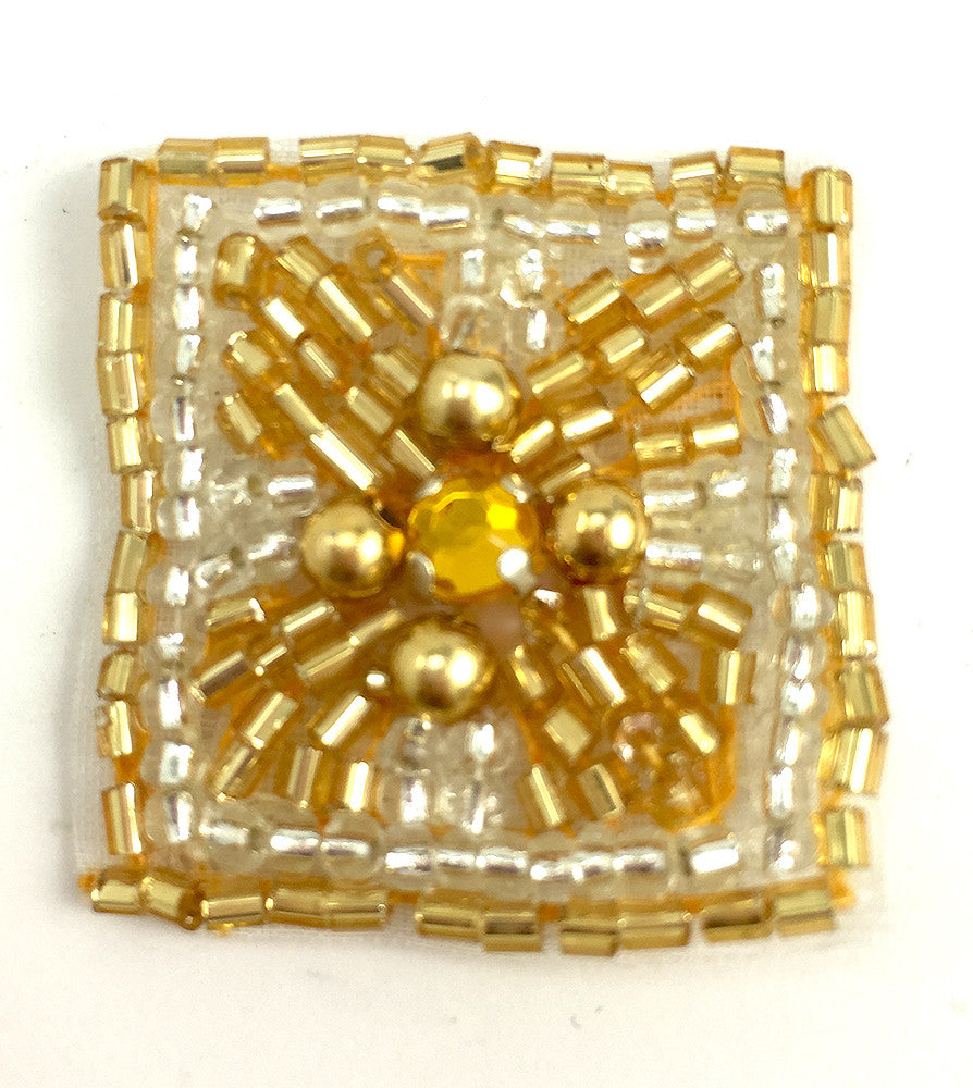 Designer Motif Jewel with Gold Beads and Rhinestone 1.25""