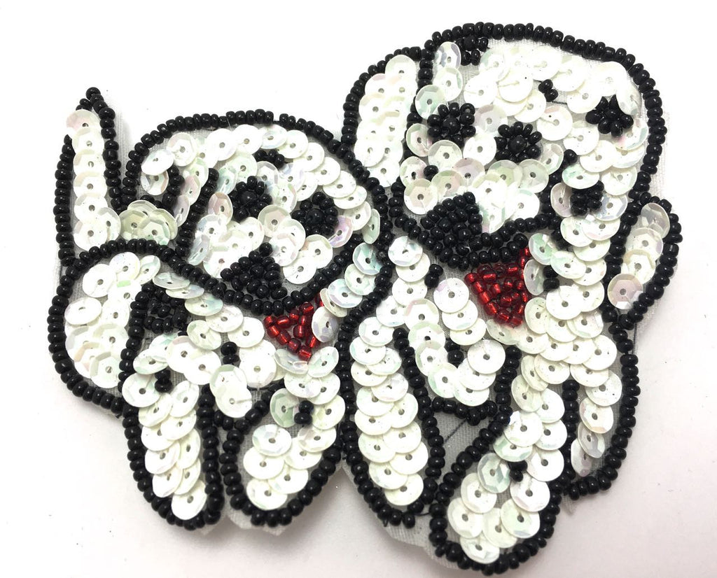 "Dog Two Dalmatian Puppies with Black and White Sequins and Beads 3.25"" x 4"""