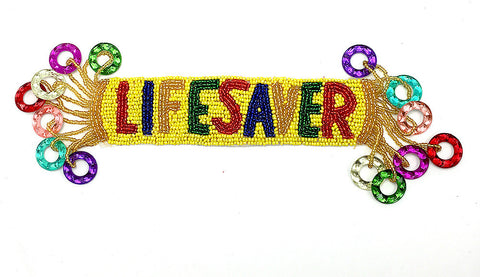 "Candy Lifesaver Applique with Multi-Colored Beads 10"" x 4"""