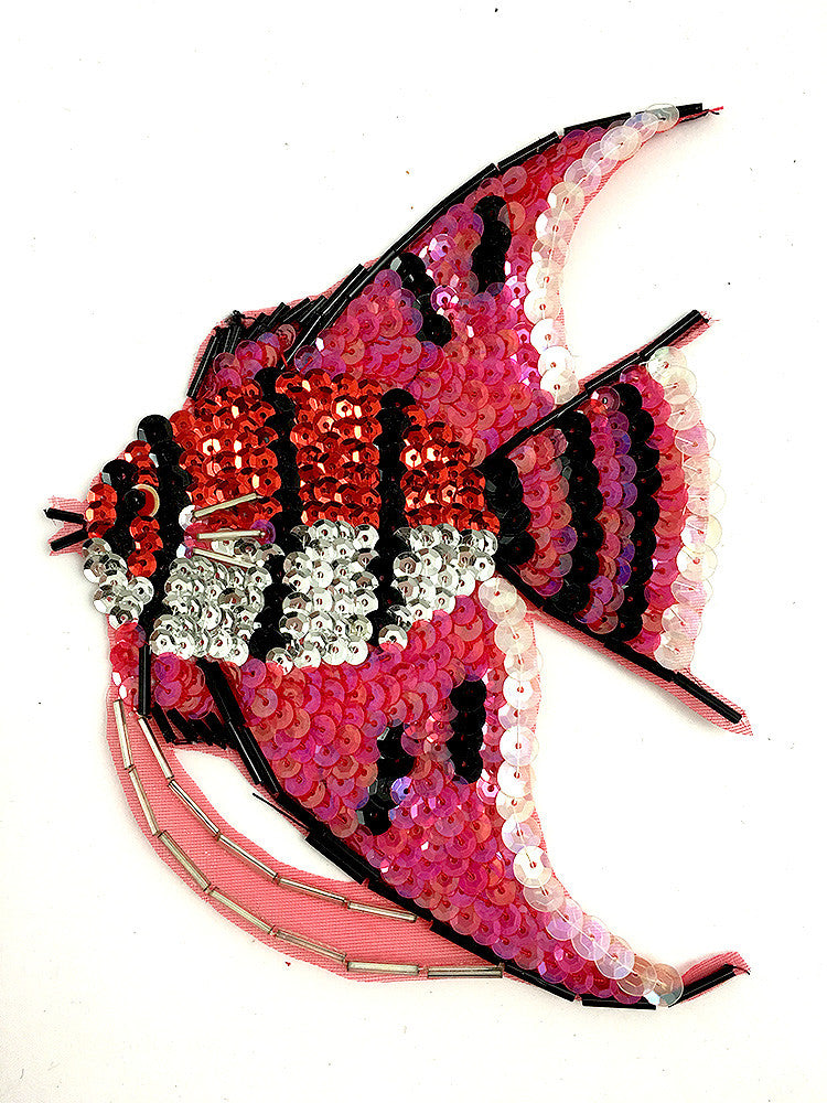 "Fish with Red and Black Sequins and Beads 6.5"" x 5"""
