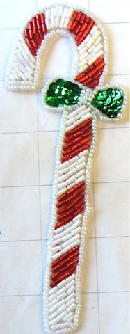 "Candy Cane White and Red Beaded with Green Bow 6"" x 2.5"""