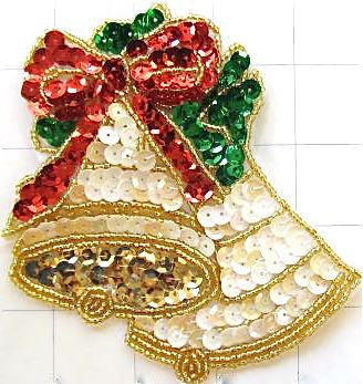 "Christmas Gold Bells with Red and Green Bow 4.5"" x 4.5"""