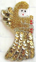 "Load image into Gallery viewer, Angel with Gold Sequins and Beads 4"" x 2.25"" - Sequinappliques.com"