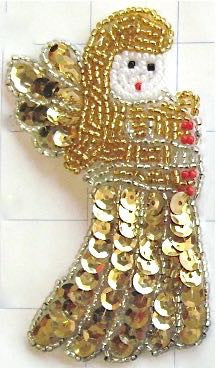 "Angel with Gold Sequins and Beads 4"" x 2.25"""