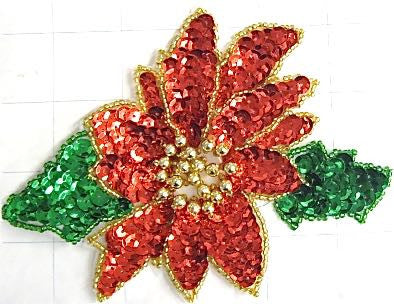 "Poinsettia Red with Green  6"" x 4.5"""