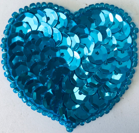 Heart  Turquoise Cupped Sequins and bBeads 1.75""