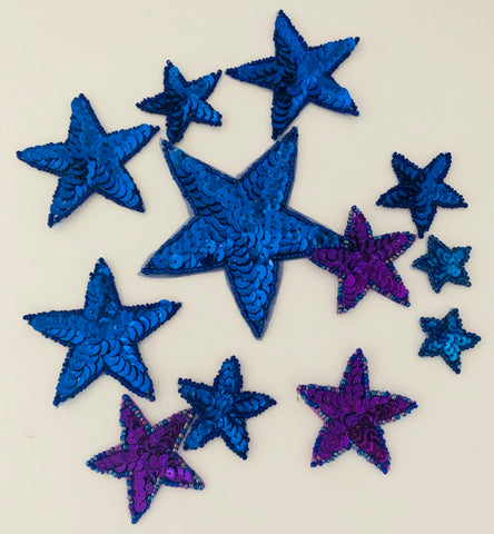 "Star Assortment, Blue and Purple Sequin Beaded 1.75"" to 4"""