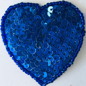 Heart in Royal Blue Flat Sequins and beads 2""