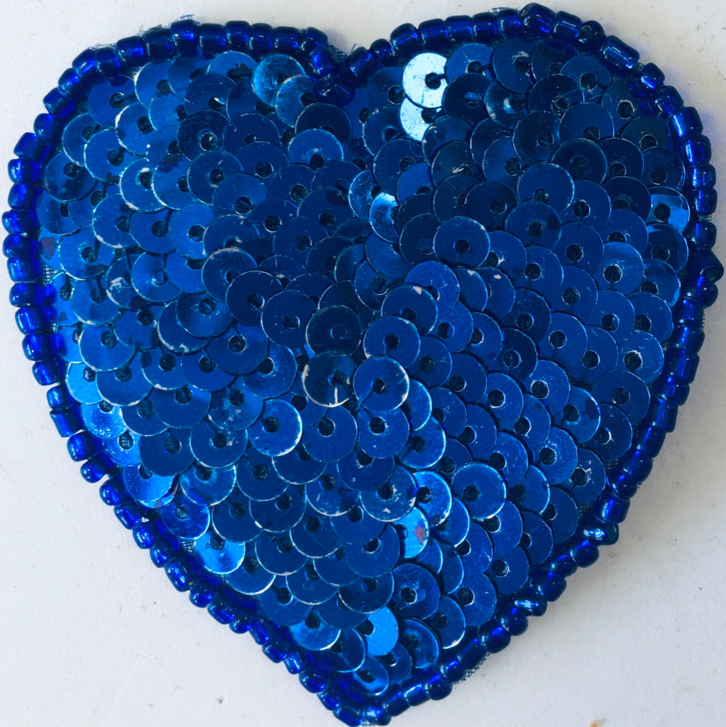 Heart in Royal Blue Flat Sequins and beads 2