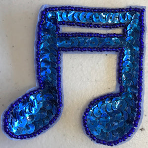 "Double Note Royal Blue in Flat or Cupped Sequins 2.75"" x 2.75"""