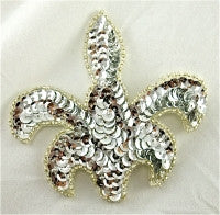 "Fleur de lis with Silver Sequins and Beads 3.5"" x 4"""