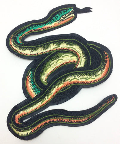 "Snake Embroidered with Multi-Colors 8"" x 7"""