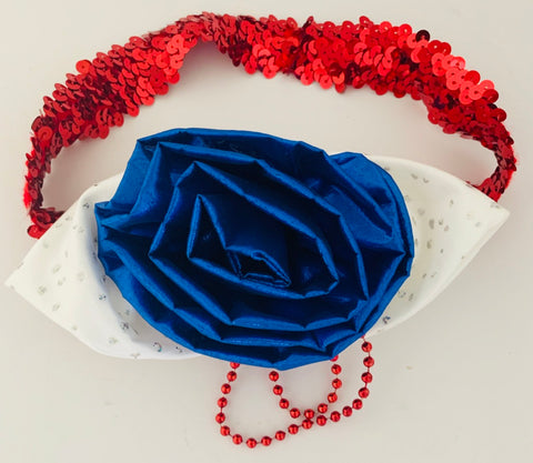 Patriotic HeadBand with sequins and silk bow