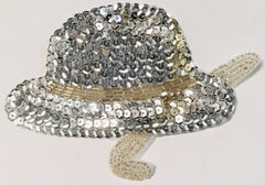 Hat and Cane with Silver Sequins and Beads in 2 Size Variants