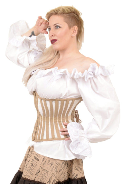 Canvas and Mesh Steam underbust Corset