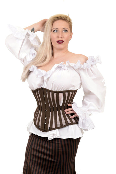 Canvas and mesh underbust corset