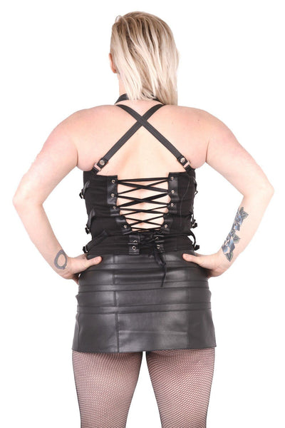 PVC Canvas Multi Strap Zip Front Top