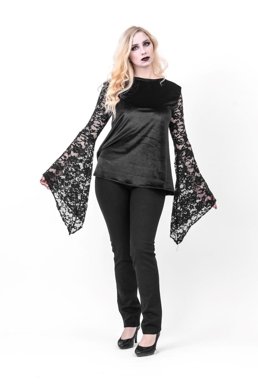 Alana Velvet Long Lace Sleeve Top