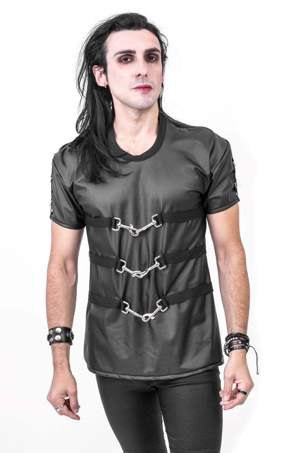 Mens Spring Clip Leatherlook Top