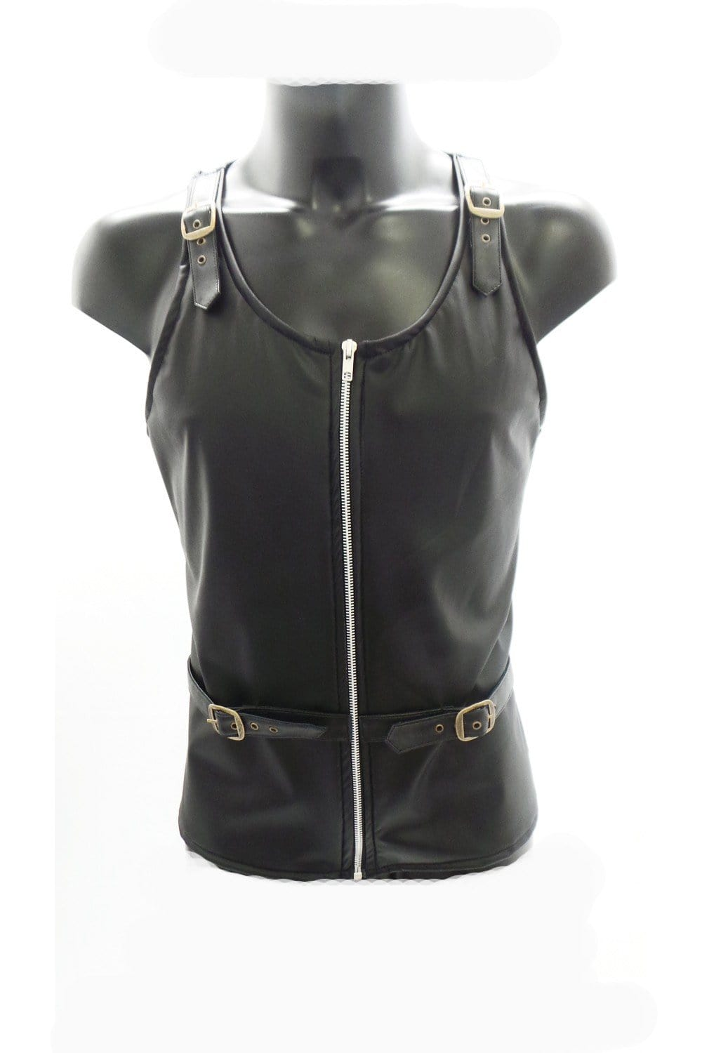 Ben Leatherlook Zip and Strap Vest Top