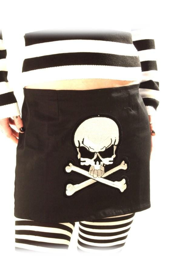 Canvas Pirate Skull Patch Mini Skirt