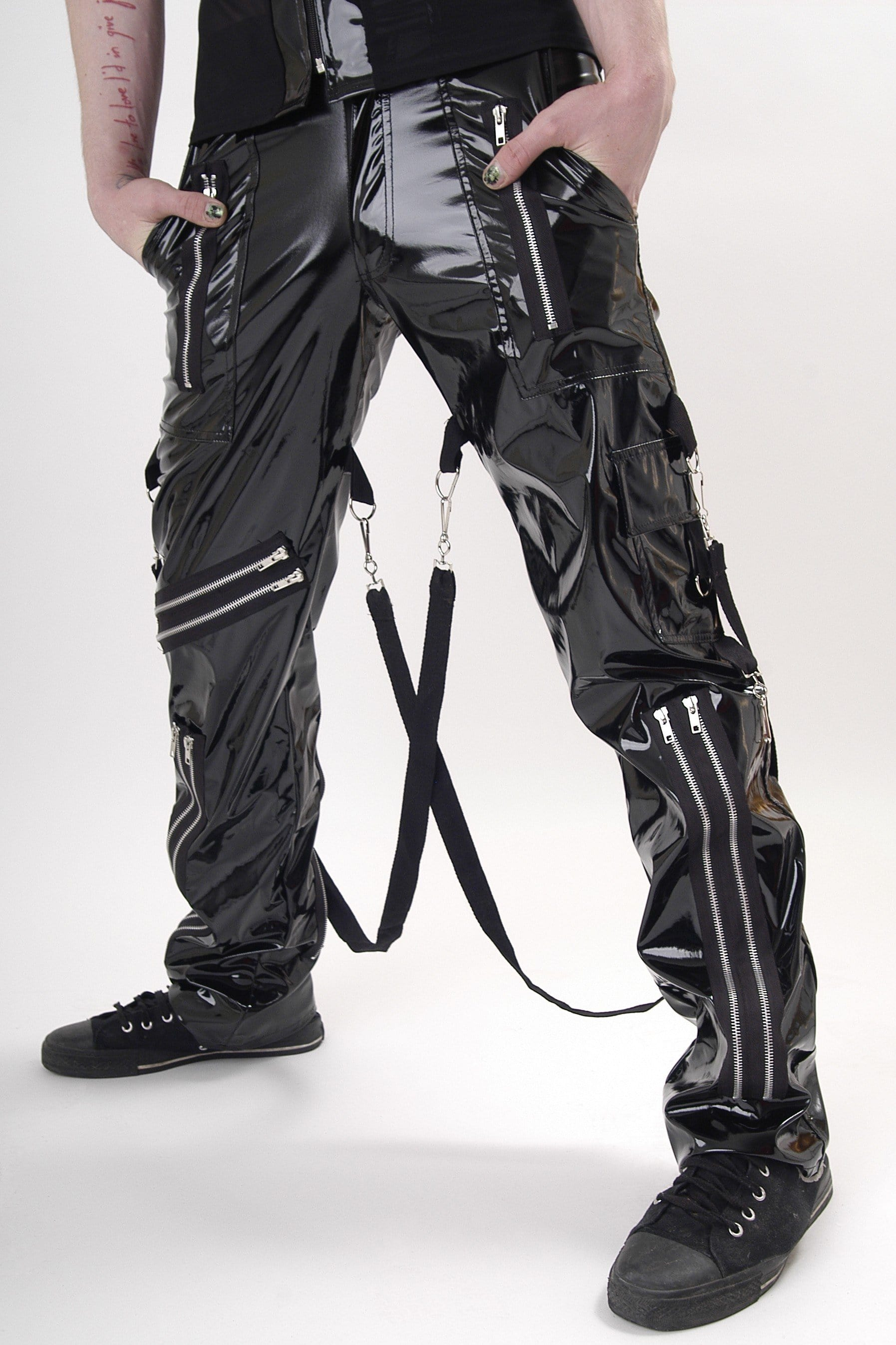 Gloss PVC Multi Zip Bondage Trousers
