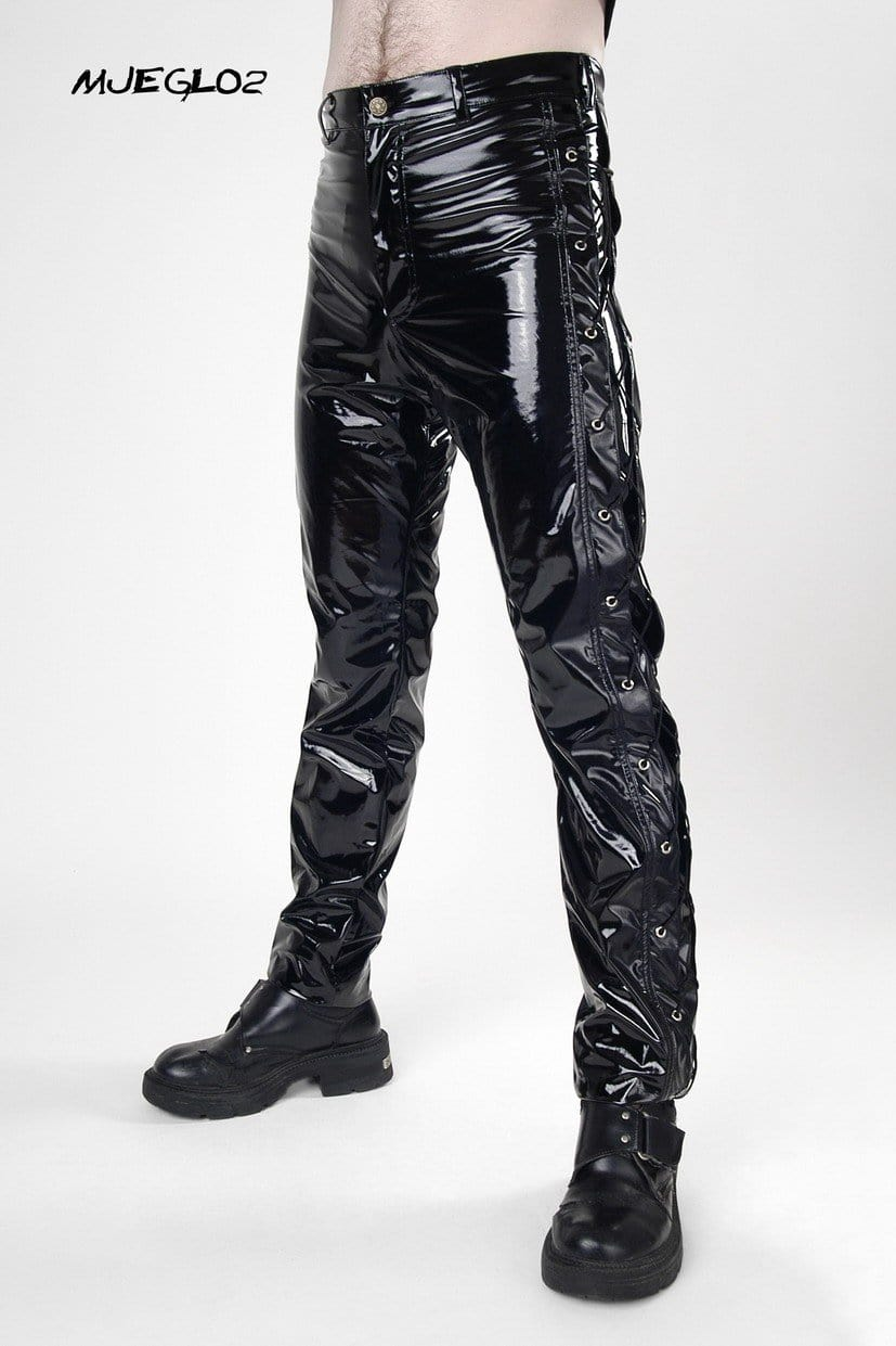Black Gloss PVC Side Eyelet Jeans