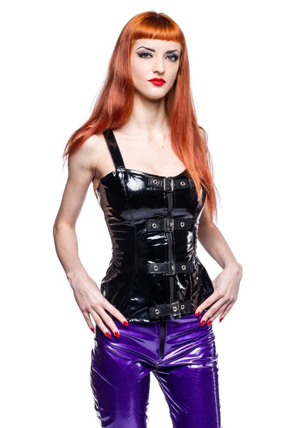 Natalie Buckle Tight Fitting Gloss PVC Top